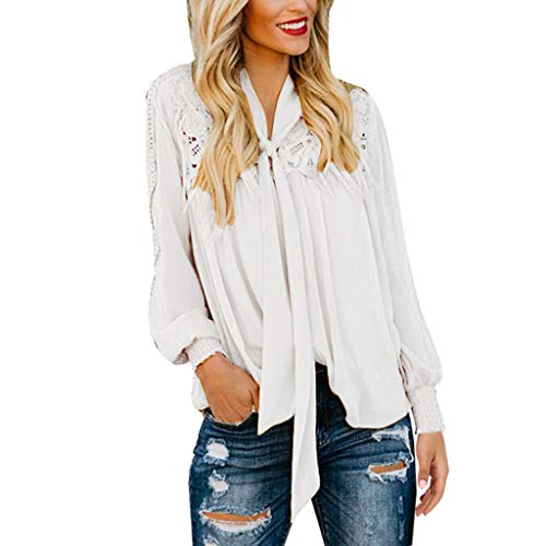 YKARITIANNA Women Casual Solid Long Sleeve Tie Up Lace Soild Loose Shirt Tops Blouse ()