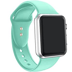 a8Miss Apple Watch Band, Silicone Replacement Iwatch Bands Series 1, Series 2,Series 3 (42mm S/M, Mint Green)