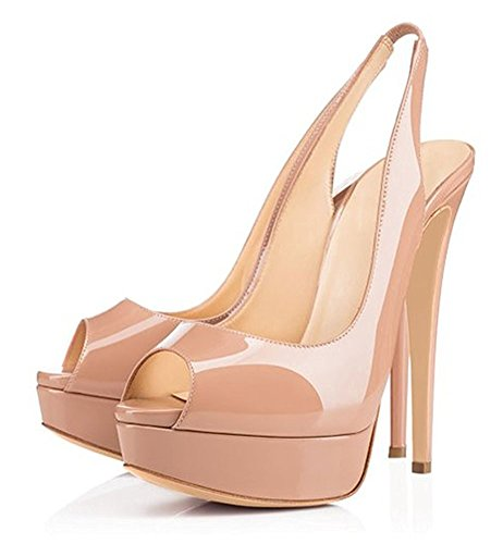 Emiki Women Peep Toe Slingback Sandals Platform Patent Leather Thin High Heels Stilettos Pumps Wedding Party Court Shoes Beige tcnAPwca