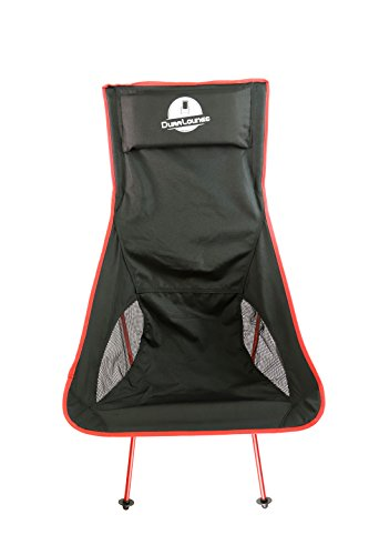 Red Wine Frame Black Seat (DuraLounge Outdoor, Lightweight, Portable, Folding Chair by Beach lounge chair with Two Mesh Pouches and A Convenient And Easy-To-Carry Storage Bag/Premium Camping/Backpacking Chair (Wine Red))