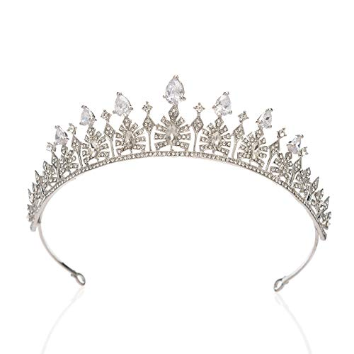 SWEETV Cubic Zirconia Wedding Tiara for Bride - Princess Tiara Headband Bridal Crown, Bridal Hair Accessories for Women, Silver