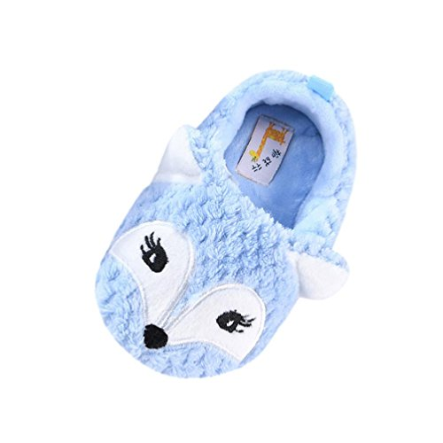 BZLine Baby Warm Fox Design Kleinkind Erwärmung Krippe Schuhe Hausschuhe Schuhe Blau