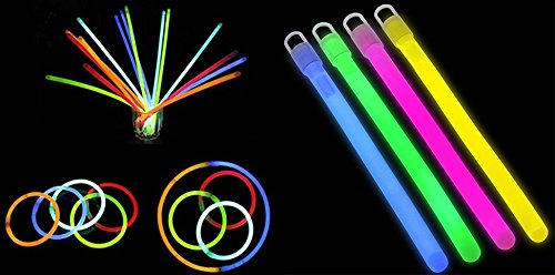 24 Bright Glow Sticks, Rings, Necklace with Lanyards and Connectors. Great for Birthday Parties, Rave Outfits, Outdoor Night Toy. Neon Colors brings Fun and Joy to Kids. Glow In the Dark Toy.