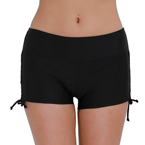 iEFiEL Women's Swim Brief Beach Boy Shorts Swimwear with Adjustable Ties