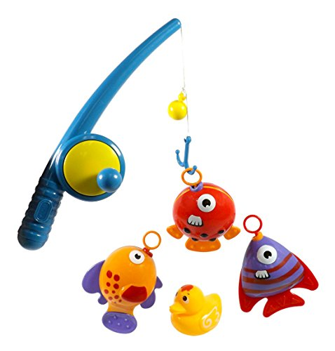 Hook and Reel Fishing Toy Playset for Kids - Bathtub Bath Fun with Fish Duck & Rod Pole