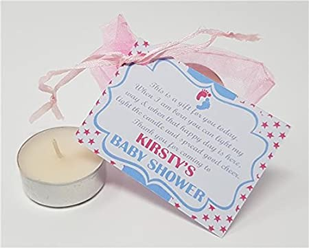 d54bb4f9e6d Treasured Forever Personalised Baby Shower Favour - Thank You Gift - Candle Tea  Light - Feet Style