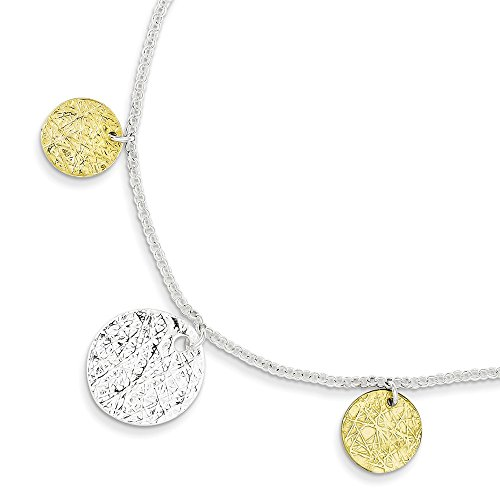 - Mia Diamonds 925 Sterling Silver Solid and Vermeil Polished and Textured Bracelet 7.5
