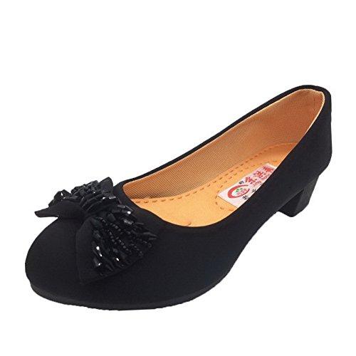 AgooLar Femme Rond Tire Toile Couleur Unie à Talon Bas Chaussures Légeres Noir GWybwo8CV