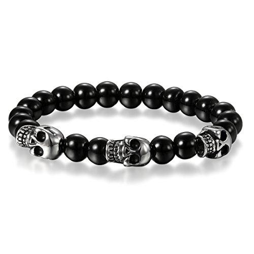 Cupimatch Stainless SteelSkull Bracelet, Mens Skull Bracelet 8mm Buddha Black Beads Stretch Gothic Jewelry