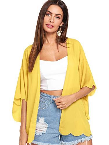 (WDIRARA Women's 3/4 Sleeve Scallop Trim Longline Kimono Cardigan Plain Casual Cover up Yellow M)
