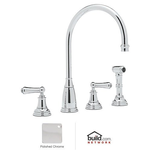 Perrin and Rowe Double Handle Athenian Kitchen Faucet with Lever Handle Finish: Polished Chrome