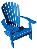 Phat Tommy Recycled Poly Resin Folding Deluxe Adirondack Chair – Durable and Eco-Friendly Patio Furniture, Blue