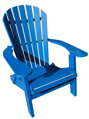 Phat Tommy Recycled Poly Resin Folding Deluxe Adirondack Chair – Durable and Eco-Friendly Patio Furniture, Blue by Phat Tommy