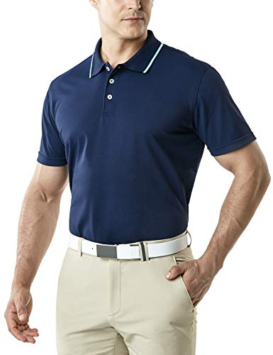 - TSLA Men's Dri Flex Tech Polo Premium Active Fit Solid Top Shirt, Basic Pique Polo(mtk10) - Navy & Light Blue, 2X-Large