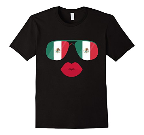 Mens Mexican Sunglasses & Lips T-shirt Cool Mexico Flag Top Tee 2XL - Sunglasses Mexico