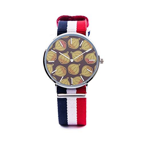 Unisex Fashion Watch Onion Vegetable Side Dish Creativity Print Dial Quartz Stainless Steel Wrist Watch with Nylon NATO Strap Watchband for Women/Men 36&40mm Casual Watch