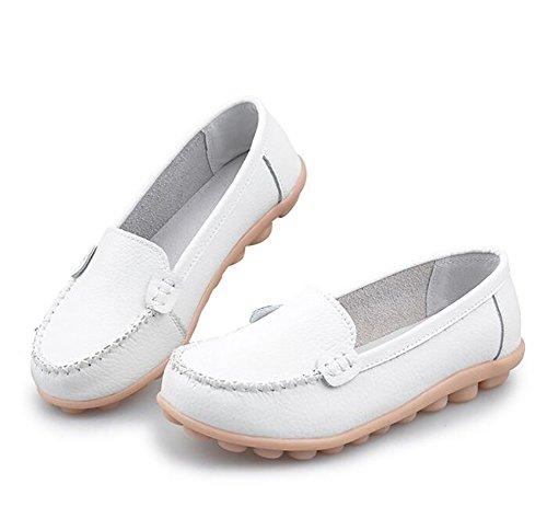 Cuero Fondo Casual Zapatos Del Mujeres SHANGXIAN US7 EU38 CN38 Barco White Suave Plano 5 5 White Zapatos UK5 XI8wn80dx