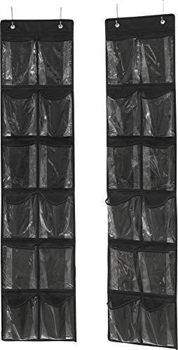 Simple Houseware 24 Pockets - 2PK 12 Large Pockets Over Door Hanging Shoe Organizer, Black (58