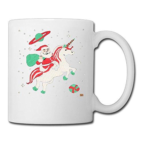 White Santa Unicorn Ceramic Cup 11oz Unisex Printed On Both Sides