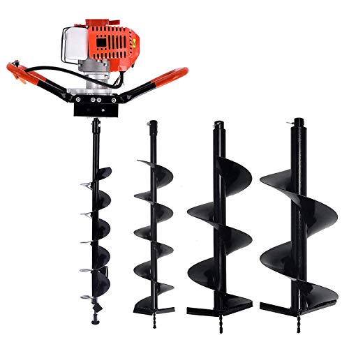 "EASYG 52cc 2 Stroke Post Hole Digger, 1.8KW Petrol Gas Powered Earth Auger with 3 Replacement Drill Bits(5"", 6"", 8"")"