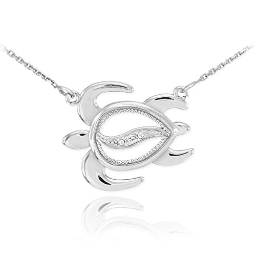 Fine 14k White Gold Diamond-Accented Lucky Hawaiian Honu Turtle Necklace, ()