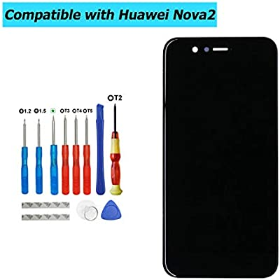 Upplus Replacement LCD Display Compatible for Huawei Nova Replacement Repair Display LCD Touch Screen Digitizer Assembly Glass with Frame with Toolkit  Black