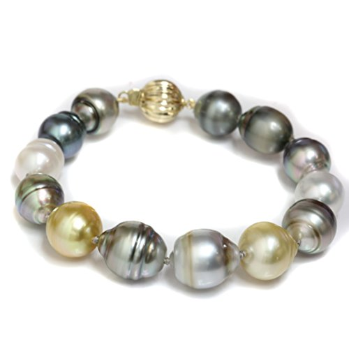 14k Gold Tahitian & South Sea Pearl Bracelet 12.5 - 11 MM AAA Multi Color - 7