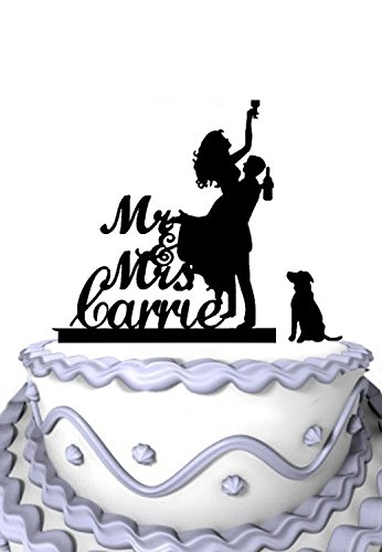 Meijiafei Personalized Wedding Cake Topper -Customized Your Name Bride Groom Holds Drunk Bride with Dog Silhouette Cake Party Supply