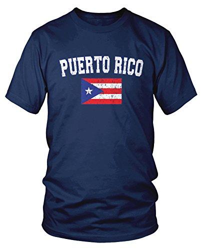 - Amdesco Men's Puerto Rico Flag, Distressed Boricua Flag T-Shirt, Navy Blue 2XL