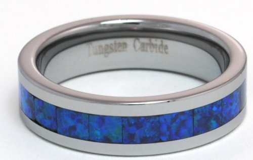 6mm Precious Opal Tungsten Ring with a Brilliant Display Dark Blue Fire (Brilliant Black Fire Opal Ring)