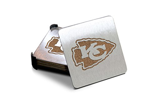 NFL Kansas City Chiefs Boasters, Heavy Duty Stainless Steel Coasters, Set of 4