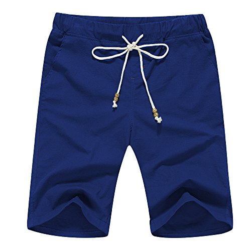 Janmid Men's Linen Casual Classic Fit Short (L, Blue) ()
