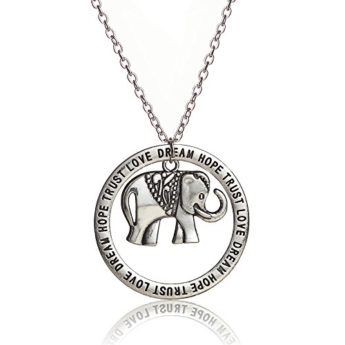 Retro Silver Jewelry Elephant Hollow Round Trust Love Hope Dream Pendant