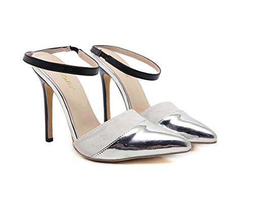 Pointed Eu Pump 40 Stiletto Shoes 35 Size Dress Sandals 12Cm Silver Mules Slippers D'orsay Shoes Court Casual Toe xOOqfIwR