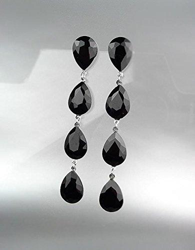 GLITZY Black Onyx Czech Crystals Chandelier Pageant Prom Earrings 4320L