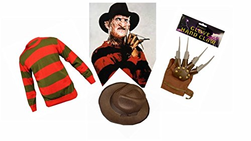 Wicked Big Boys' Striped F Die F Dy Krueger Kruger Style Piece Set Small Mens / Large Boys Red With Mixed Fibres Green/Brown/Grey (Freddy Krueger Costume For Boys)