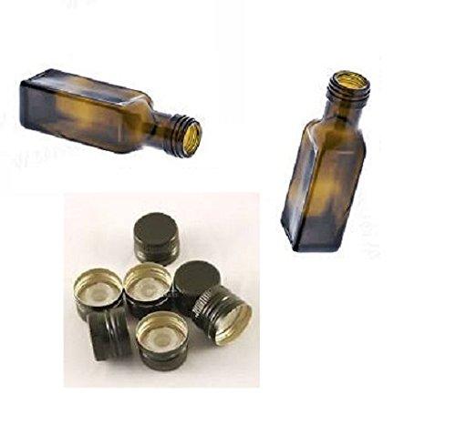 20pz bottiglia vetro scuro UVAG bottiglia marasca olio liquore quadra per campioncini capienza 100 ml con tappo acquaverde