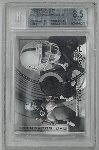Cw Jersey - Charles Woodson Oakland Raiders 2002 Upper Deck MVP Souvenirs Practice Worn Jersey Football Card #SS-CW-Beckett Graded 8.5 NM-MT