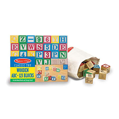 Melissa & Doug Deluxe Wooden ABC/123 Blocks Set (Developmental Toys, Storage Pouch, 1-Inch Wooden Blocks, 50 Pieces, Great Gift for Girls and Boys - Best for 2, 3, and 4 Year Olds)