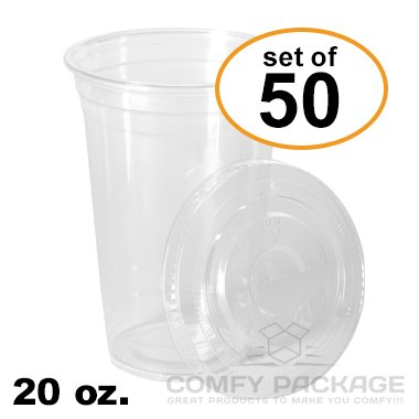 COMFY PACKAGE 50 Sets 20 Oz. Plastic CRY - 20 Clear Cold Drink Cups Shopping Results