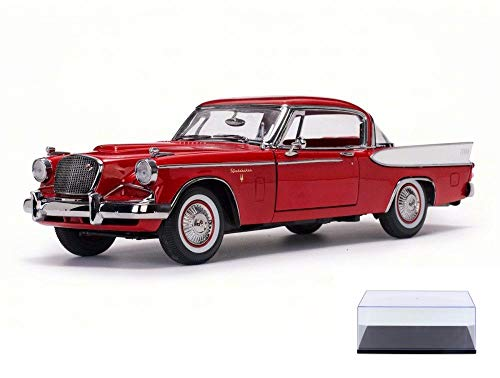 (Diecast Car & Display Case Package - 1957 Studebaker Golden Hawk, Apache Red - Sun Star 6153 - 1/18 Scale Diecast Model Toy Car w/Display Case)