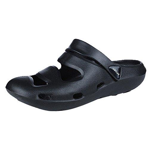 Respctful ◉ Summer Shoes for Men Slide Sandals Comfort Slip On Casual Water Shoe | Lightweight Black