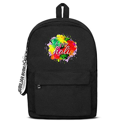 (Happy Holi the Festival Of Color Watercolor Women Men Water Resistant Black Canvas School Backpack Lightweight Backpack)