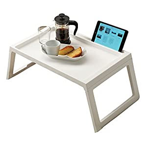 RAINBEAN Laptop Bed Tray, Breakfast Table in Bed Desk, Tablet Pad Book Stand, Portable Mini Camping Picnic Table,Super Light Weight, with Inner Storage Slot Pad Holder and Cable Tunnel, 22 inch White