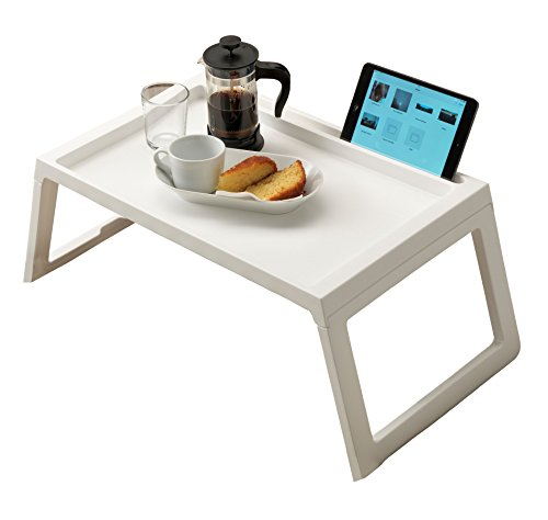RAINBEAN Laptop Bed Tray, Breakfast Table in Bed Desk, Tablet Pad Book Stand, Portable Mini Camping Picnic Table,Super Light Weight, with Inner Storage Slot Pad Holder and Cable Tunnel, 22 inch White (Sale Tables Breakfast For)