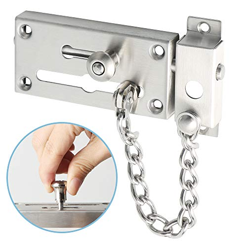 Alise Slide Bolt Latch Gate Latches Safety Door Lock with Anti-Theft Chain and Spring Lock,Heavy Duty Stainless Steel Brushed Nickel ()