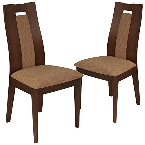 Flash Furniture 2 Pk. Almont Walnut Finish Wood Dining Chair with Curved Slat Wood and Brown Fabric Seat