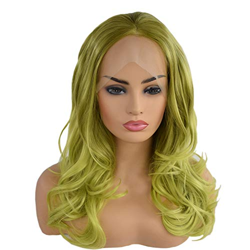 Green Lace Front Wig Ombre Bob Free Part Middle Length Wavy Wigs Half Hand Tied Glueless Synthetic Green Wig Water Wave Heat Resistant (20