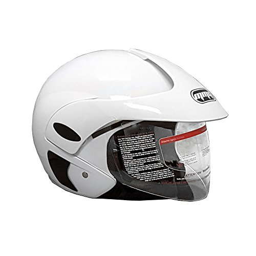 Motorcycle Scooter Open Face Helmet DOT Street Legal - Flip Up Shield - Shiny White - 203 (Large)
