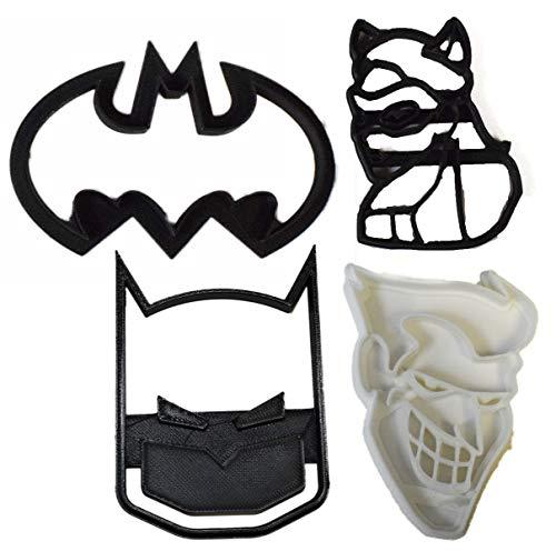 BATMAN SUPERHEROES AND VILLAINS DC COMICS MOVIE SET OF 4 BATMAN JOKER CATWOMAN LOGO MASK COOKIE CUTTER FONDANT BAKING TOOL USA PR1028 -